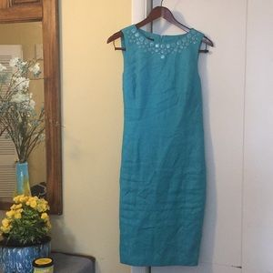 Turquoise Talbots linen dress